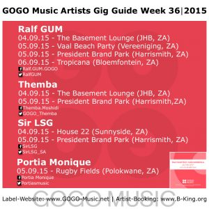 GOGO Music Artist Gig Guide Week 36 of 2015