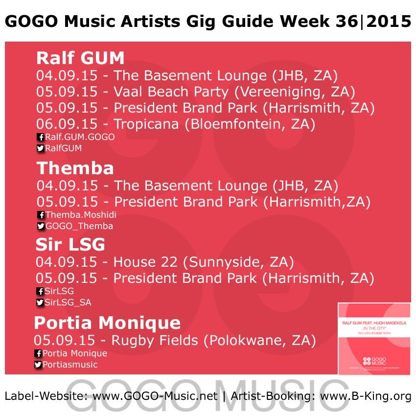 GOGO Music Artist Gig Guide Week 36 of 2015