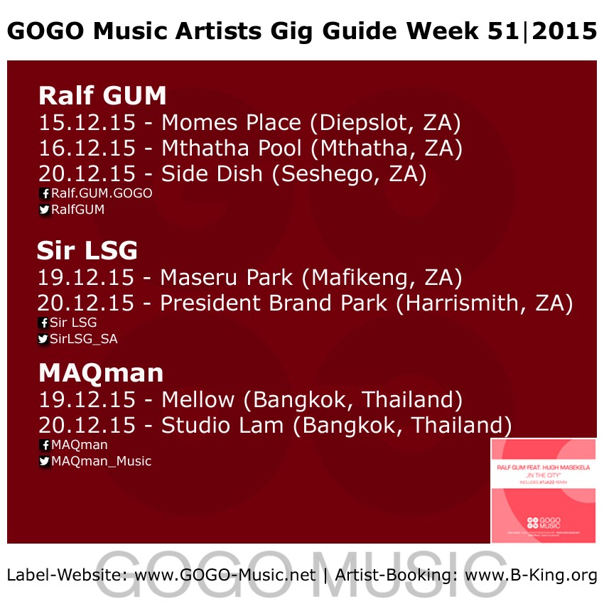 GOGO Music GIG Guide Week 51