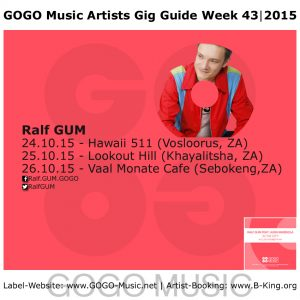GOGO Music Artist Gig Guide Week 43 of 2015
