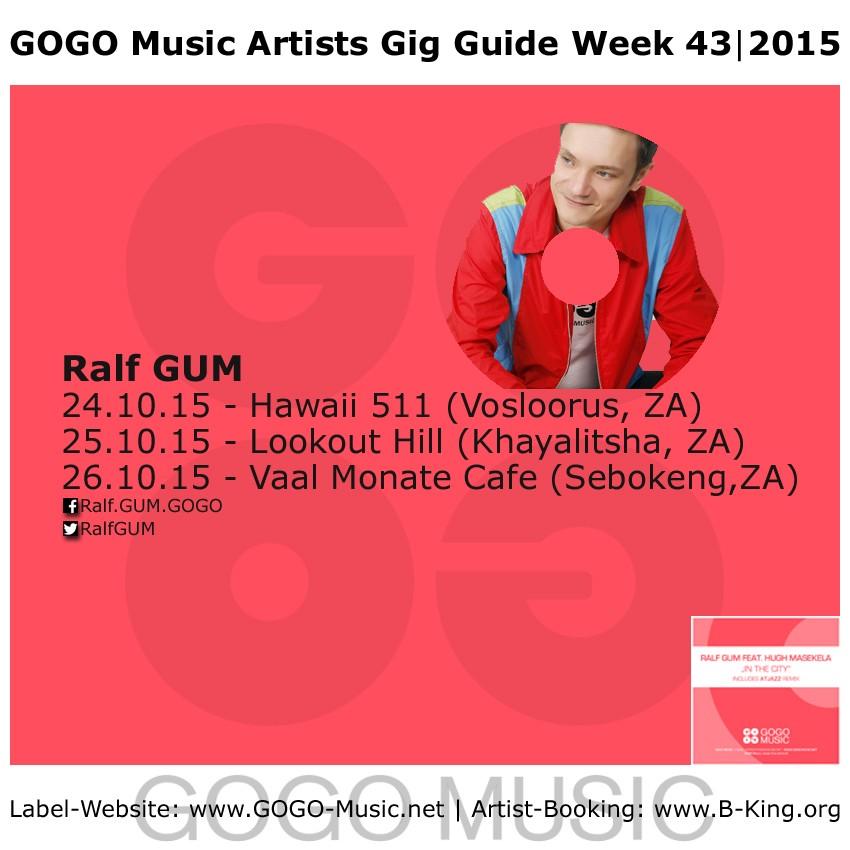GOGO Music Artist Gig Guide Week 43 of 2015