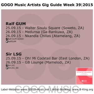 GOGO Music Gig Guide Week 39 of 2015