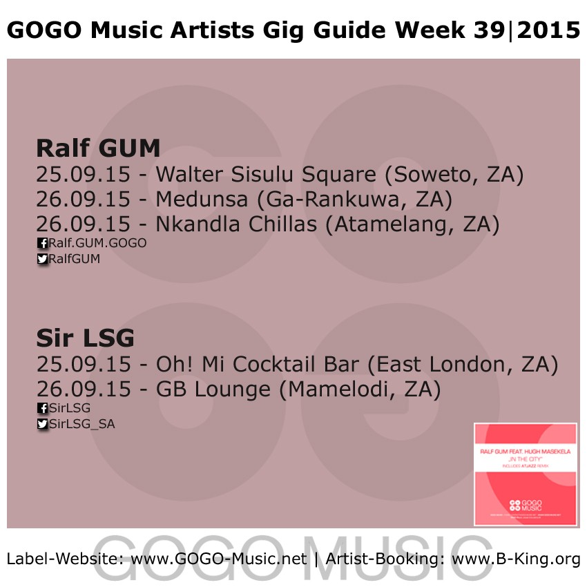 GOGO Music Gig Guide Week 39 of 2015