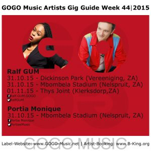 GOGO Music Artists Gig Guide Week 44 of 2015