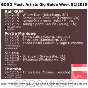 GOGO Music GIG Guide Week 52