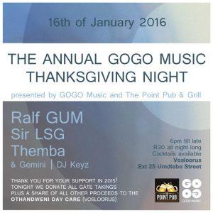 The Annual GOGO Music Thanksgiving Night